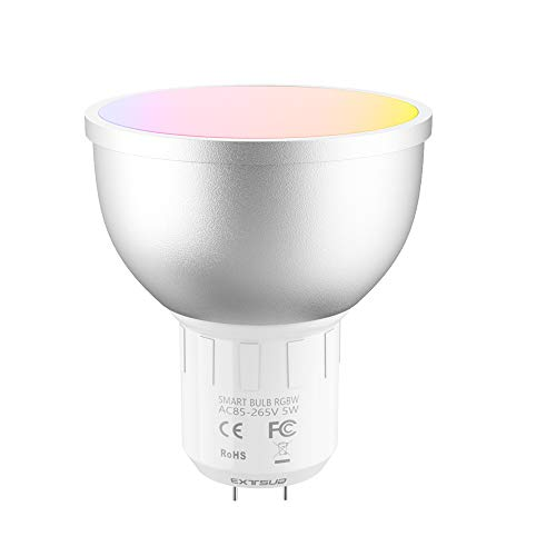 EXTSUD Smart LED WiFi Lampen,GU5.3 5W Dimmbar Mehrfarbig RGB LED Birne Licht Arbeit mit Smartphone,Tablet, Amazon Echo Plus Alexa,Google Home