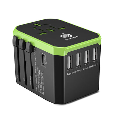 Universal Reiseadapter, International Stromadapter, Steckeradapter mit 4xUSB 5,6A Max, 1xType-C 3A Ladegerät Weltweit für Europa, UK, USA, über 180 Länder, ideal für Handy Laptop Tablets, Max 1840W