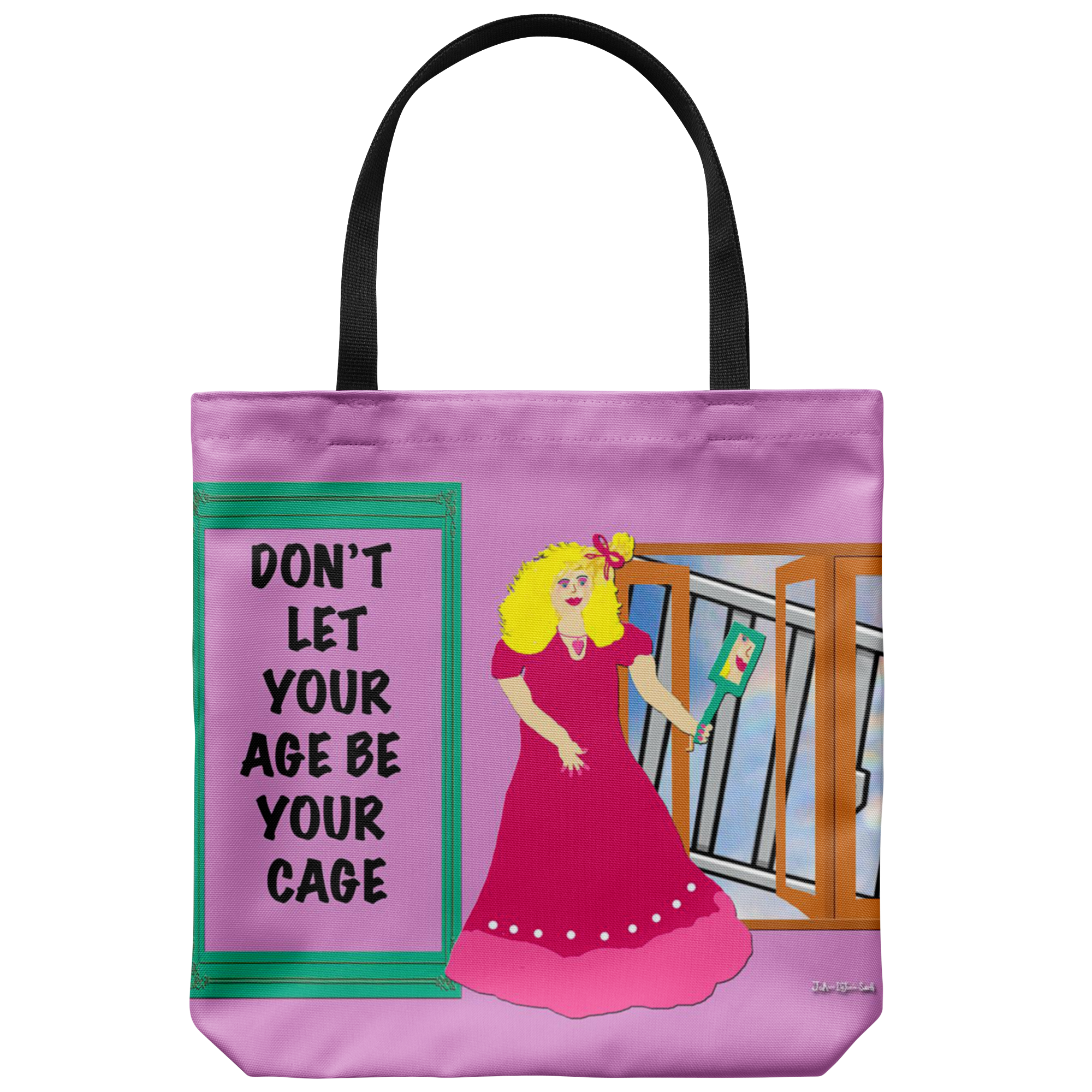 64377a0392 Dont let your age be your cage tote bag thealphabuds png 2000x2000 Tote cage