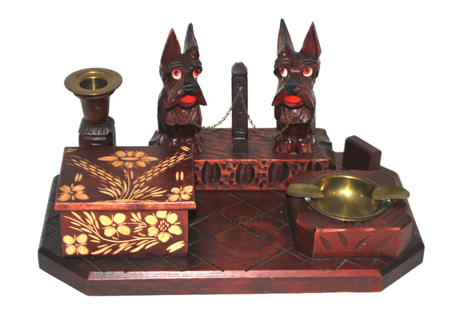 Antique Black Forest Germany Wood Pipe Box Clock Scotties Terrier Brass Ashtray