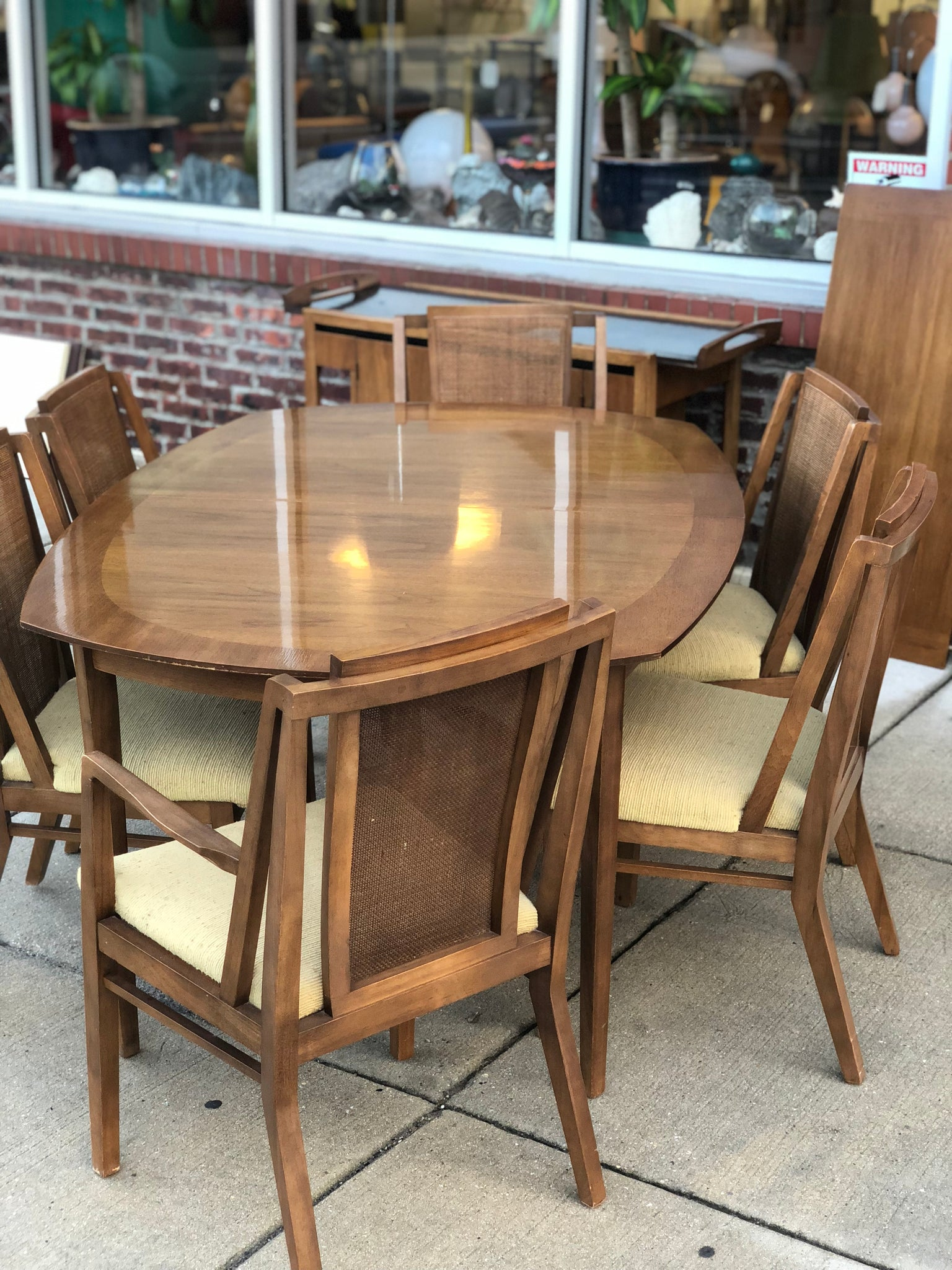 Enjoyable Drexel Dining Set Table Five Chairs Hutch Jus Mid Bralicious Painted Fabric Chair Ideas Braliciousco