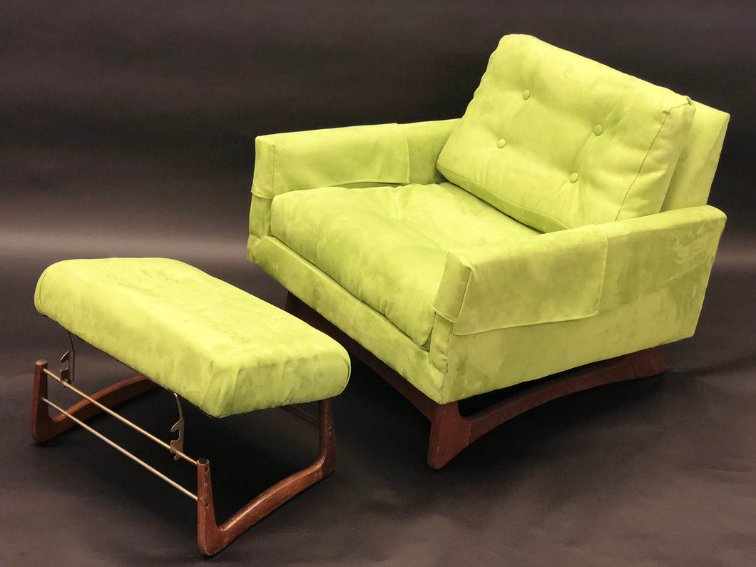 Adrian Pearsall Avocado Green Lounge Chair w/ added Ottoman