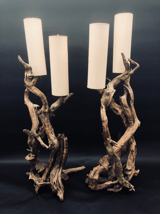 Vintage Driftwood Floor Lamp Set