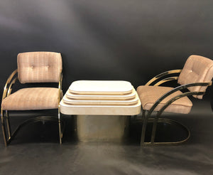 Milo Baughman Cantilever Dining Chairs and Barstools/ Matching Side Table