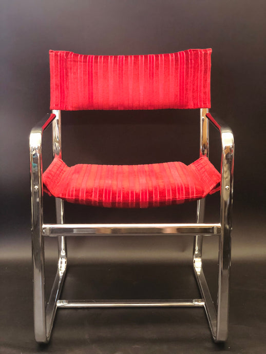 Red Velvet Chrome Director/ Dining Chair Set of 4| Knoll Brno/ Milo Baughman Style
