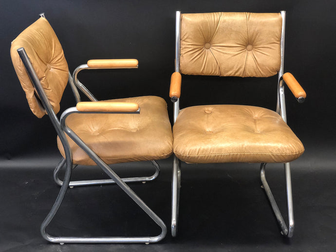 4 Vintage Leather and Chrome Tubular Dining Chairs w/ Wooden Arm's | Faleschini and Pace Style