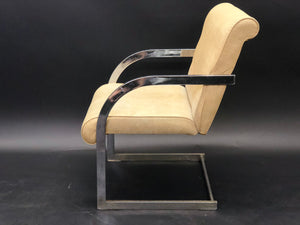 Baughman Style Vintage Pleather and Chrome Cantilever Dining Chairs | Mid-Century Modern