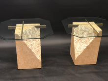 Load image into Gallery viewer, Travertine Vintage Brass and Glass Table Set | 2 Side Tables | 1 Coffee Table | 70s/80s