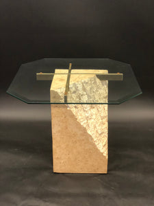 Travertine Vintage Brass and Glass Table Set | 2 Side Tables | 1 Coffee Table | 70s/80s