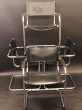 Load image into Gallery viewer, Arper Italian Black Leather Chrome Tubular Director Chair Set of 4 | Vintage Mid-Century