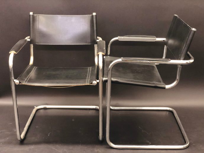 Arper Italian Black Leather Chrome Tubular Director Chair Set of 4 | Vintage Mid-Century