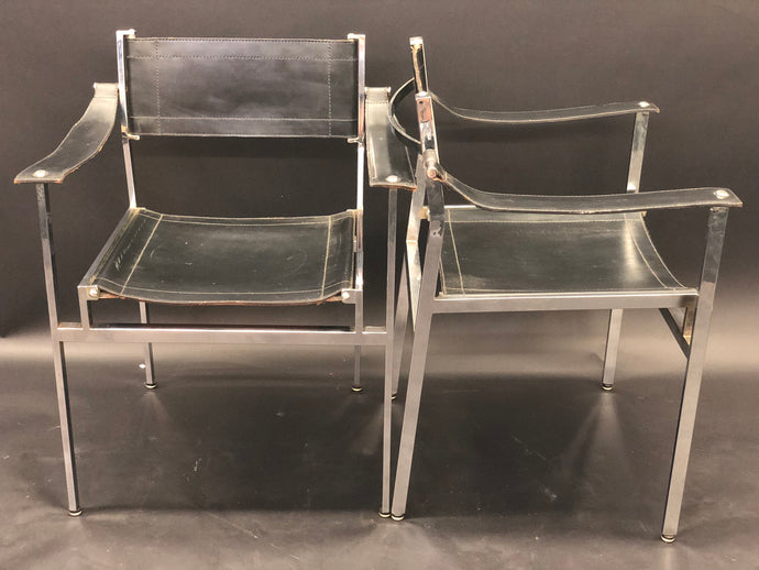 Breuer, Baughman,Knoll Style | Black Leather Chrome Director/ Dining Chairs | Set of 2