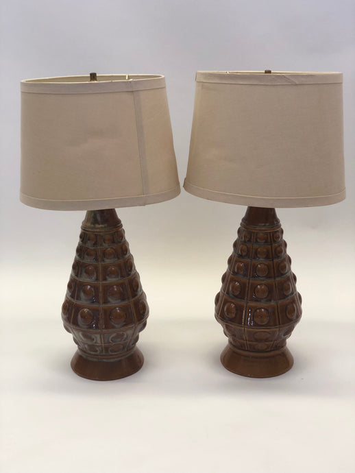 Ceramic Bubble Geometrical Table Lamps | Set of 2 | Mid-Century Modern