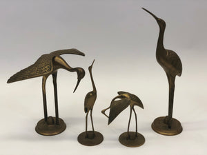 Brass Crane Vintage Figurines | Mid-Century Modern | 60s-70s | Set of 4