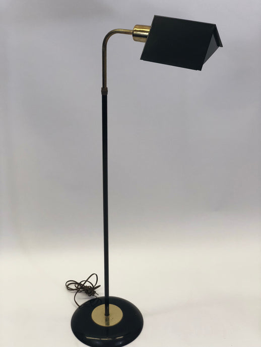 Koch Style Black and Brass Tent Shade Floor Lamp w/ Adjustable Neck | Mid-Century Modern | Vintage Look