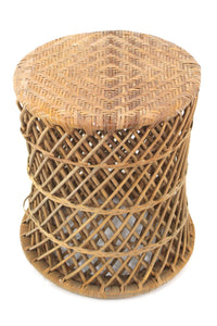 Woven Wicker Wrapped Round Cylinder End Tables Woven Top Mid Century