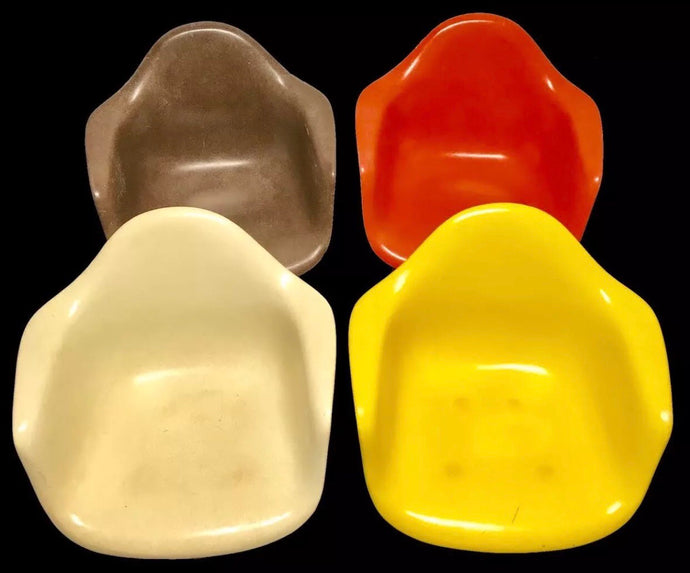 Set of 4 Herman Miller Eames Fiberglass Shells Only Cream Brown Orange Yellow