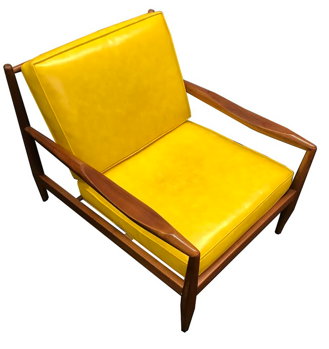 Adrian Pearsall Danish Modern Walnut Low Lounge Chair Yellow Cushions