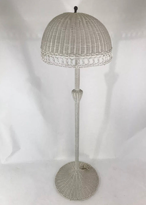 "Vintage White Original Wicker Mushroom Dome Shade Floor Lamp 63"" Tall Light MCM"