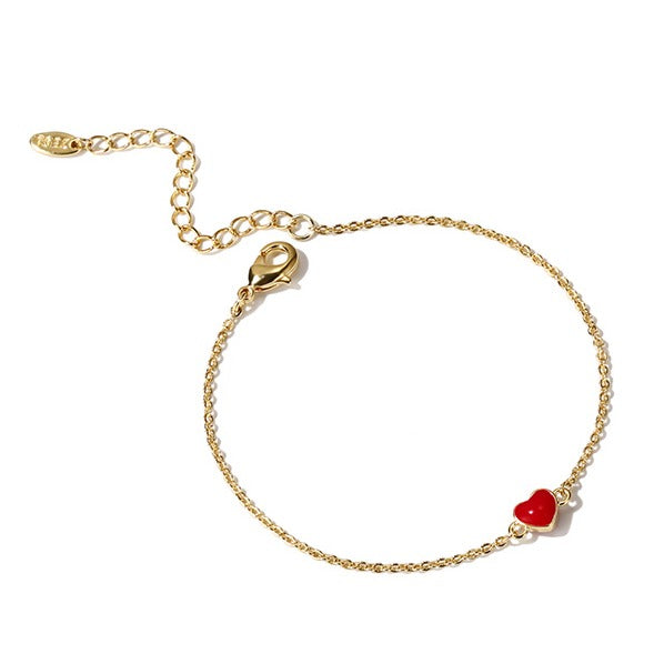 Classic Golden Bracelet with Red Heart - Cofairy