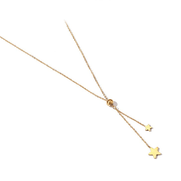 Double Star Golden Necklace - Cofairy