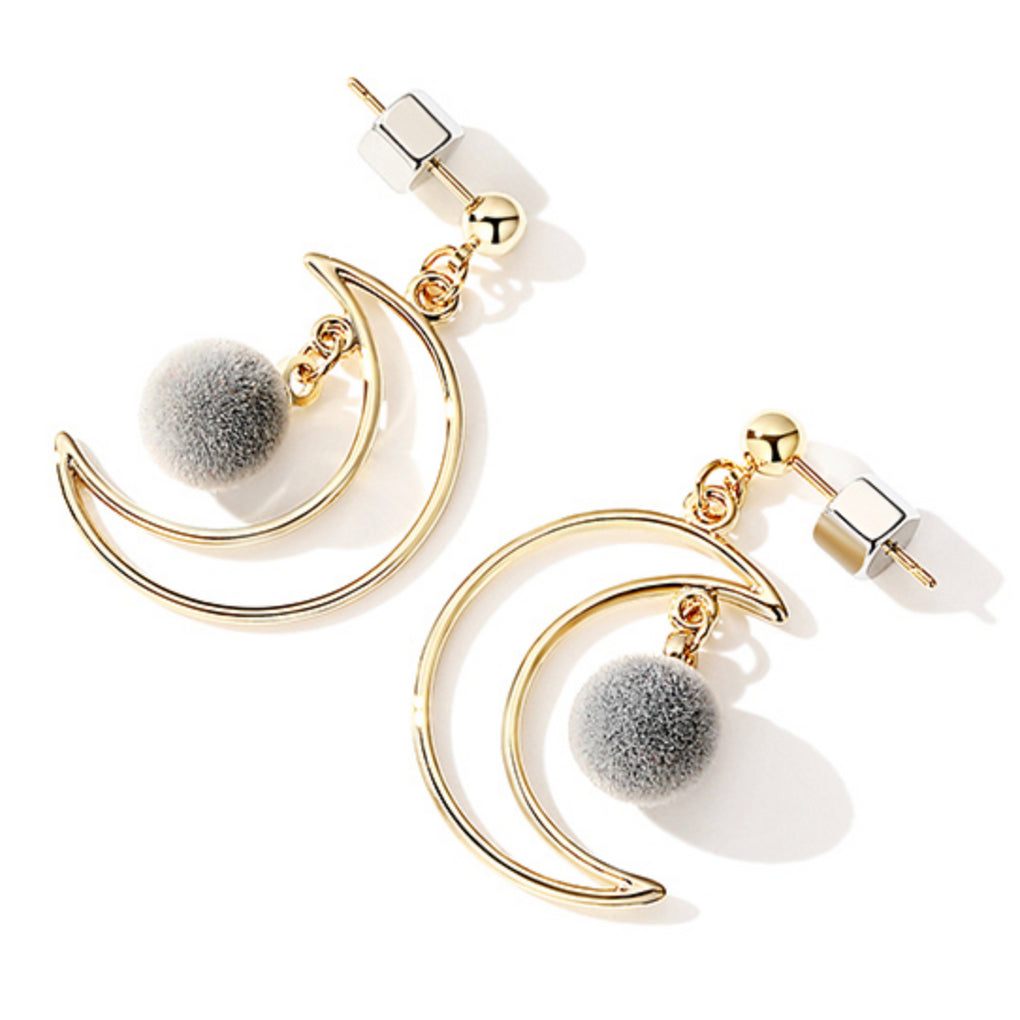 Golden Moon Earrings with Furry Ball - Cofairy
