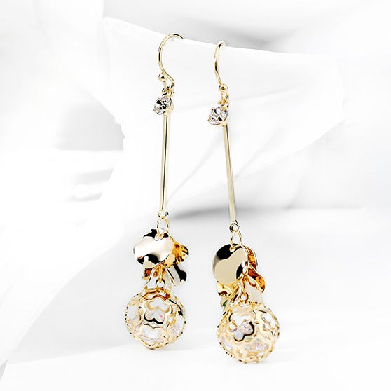 Super Delicate Golden Crystal Ball Earrings - Cofairy