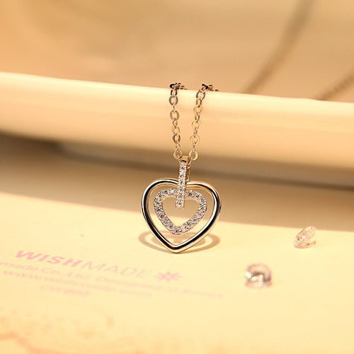 Double Heart Hallow Silver Necklace - Cofairy