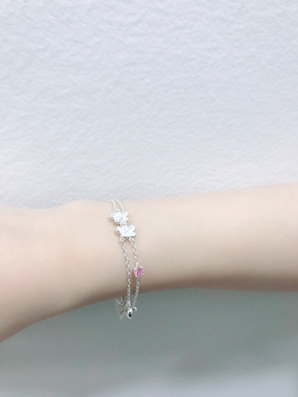 Double Layer Cherry Blossoms Silver Bracelet with Pink CZ - Cofairy
