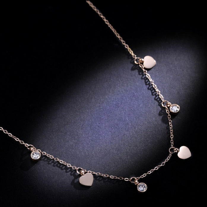 Gold-plated Heart Shape Choker with CZ - Cofairy