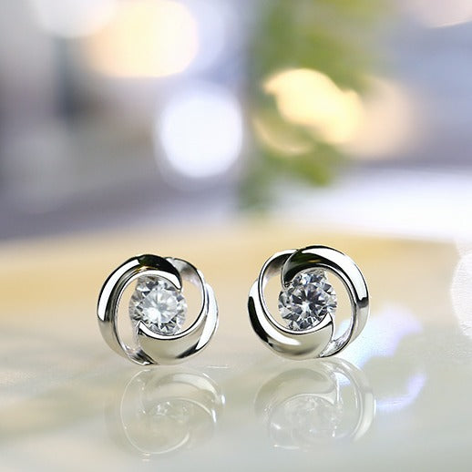 Classic Fashion Lady Stud Earrings with CZ - Cofairy
