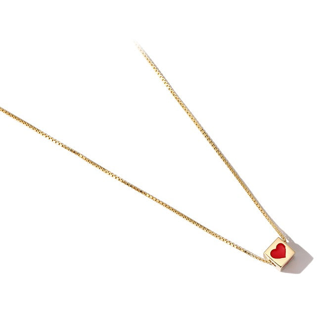 Golden Square with Red Heart Minimalist Necklace - Cofairy
