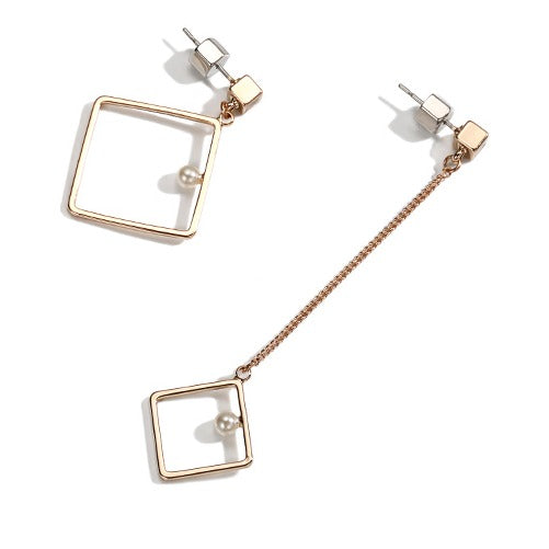 Mismatch Golden Rectangular Geometric Long Threader Earrings - Cofairy