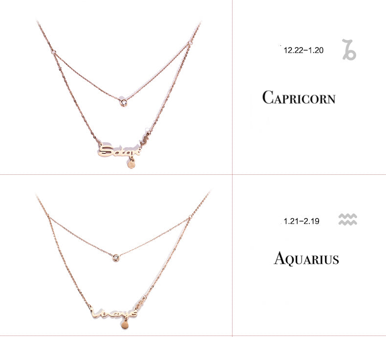 Zodiac Script Double Layer Necklace - Cofairy