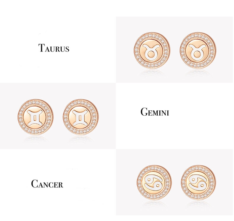 Gold Vermeil Zodiac Stud Earrings - Cofairy