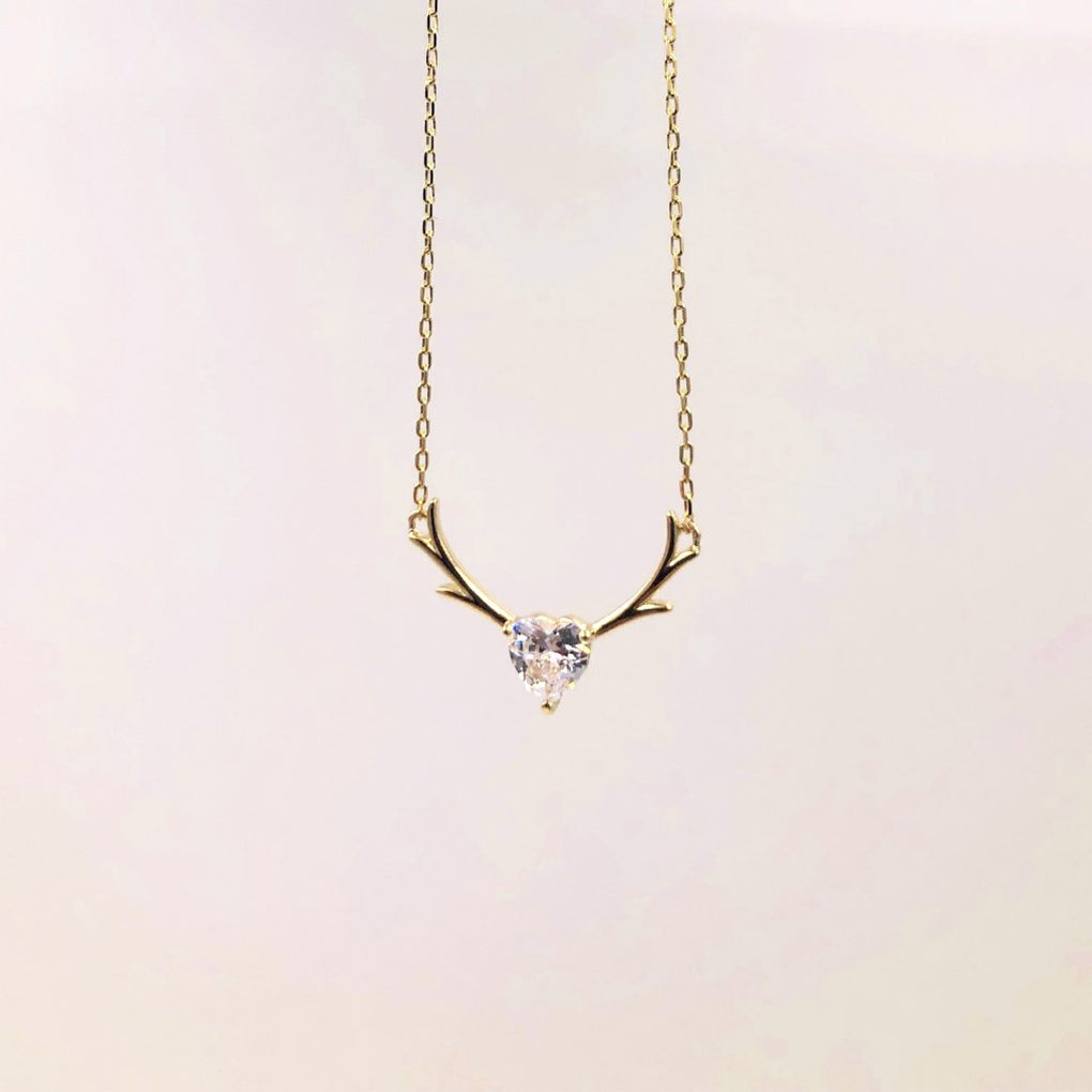 Golden Antler with Heart Shape CZ Necklace - Cofairy