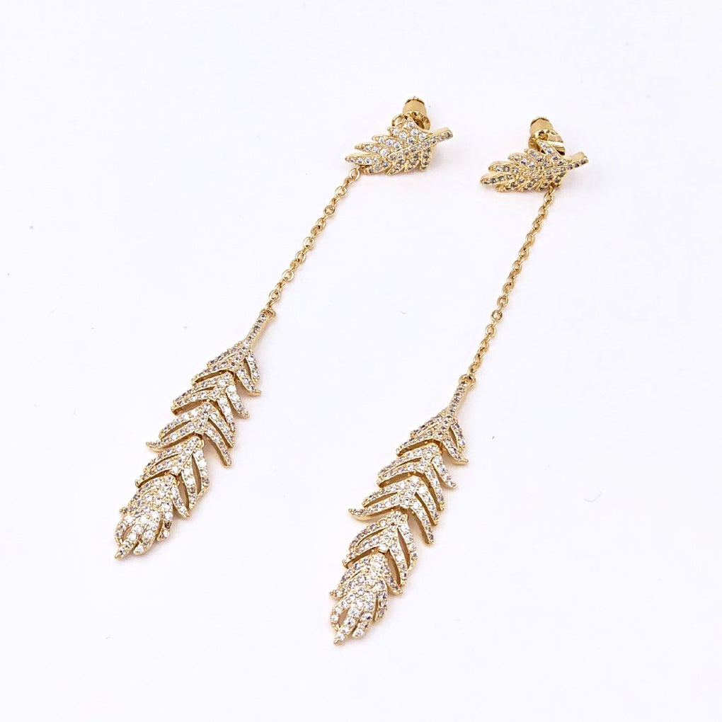 Super Shining Golden Leaf Drop Earrings - Cofairy