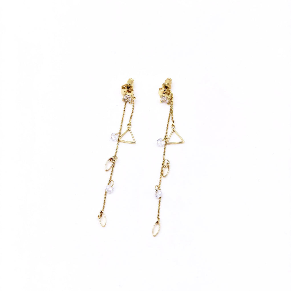 Angel Tears Golden Geometric Threader Earrings with CZ - Cofairy