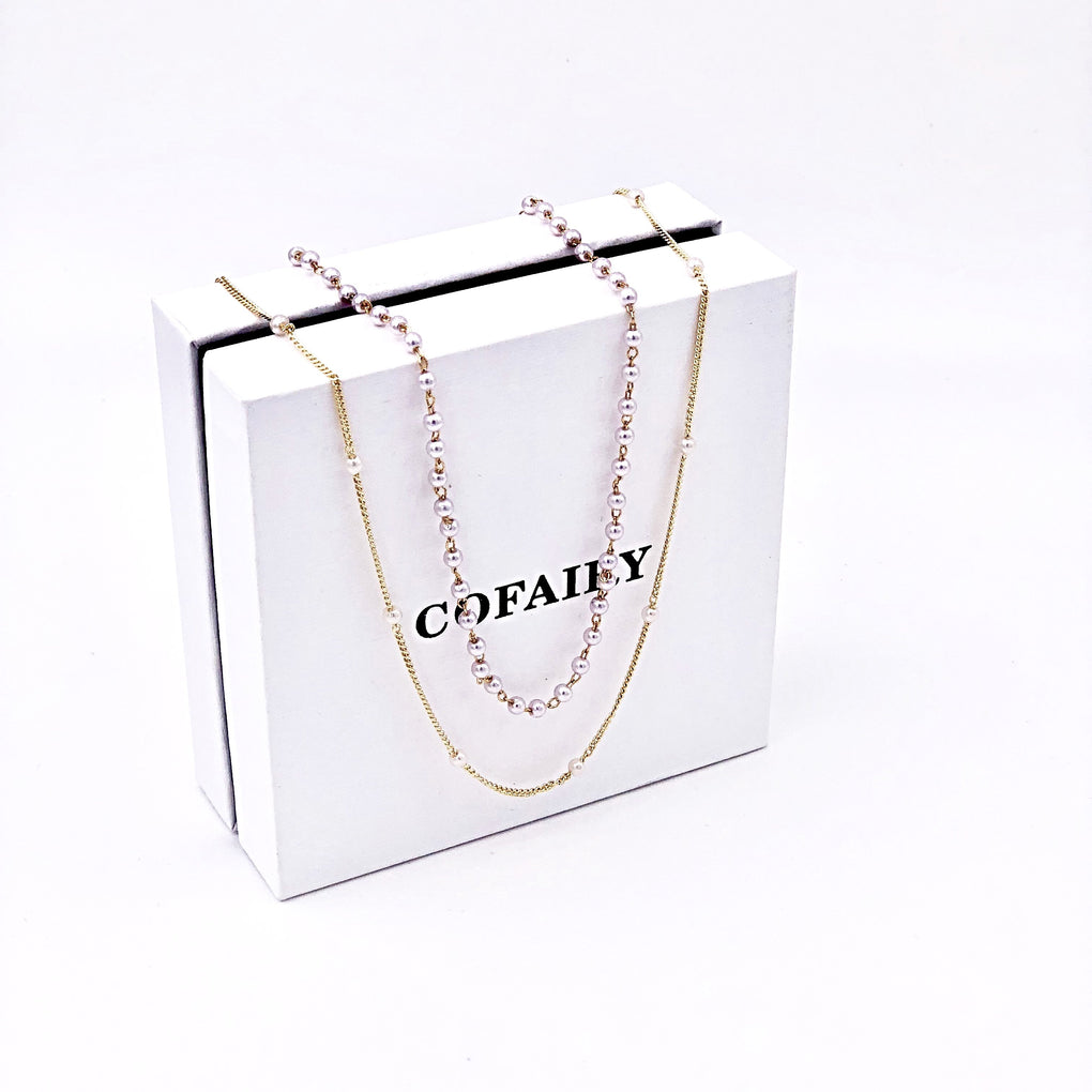 Pearl Layered Long Necklace - Cofairy