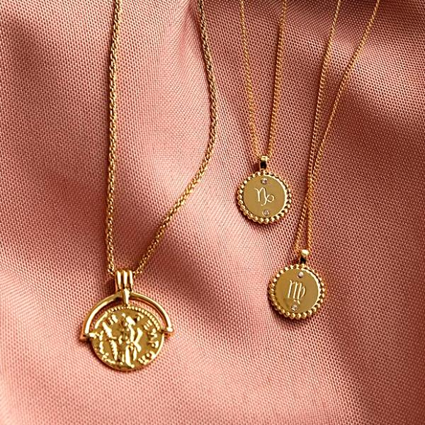 Gold Vermeil Zodiac Necklace Coin Shaped - Cofairy
