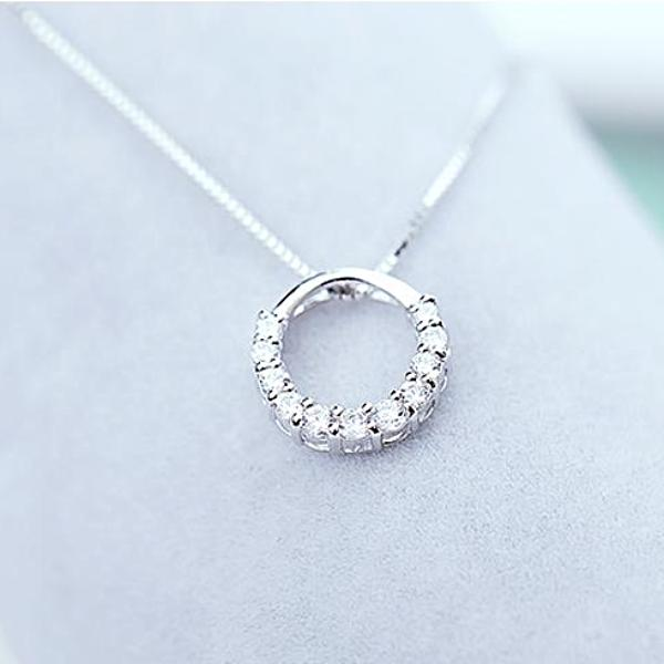 White Gold Plated Ring Shape Silver Necklace with CZ - Cofairy