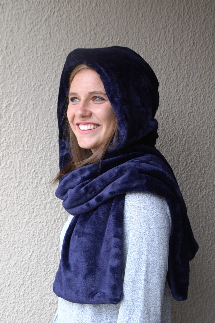 Hooded Scarf Dark Blue