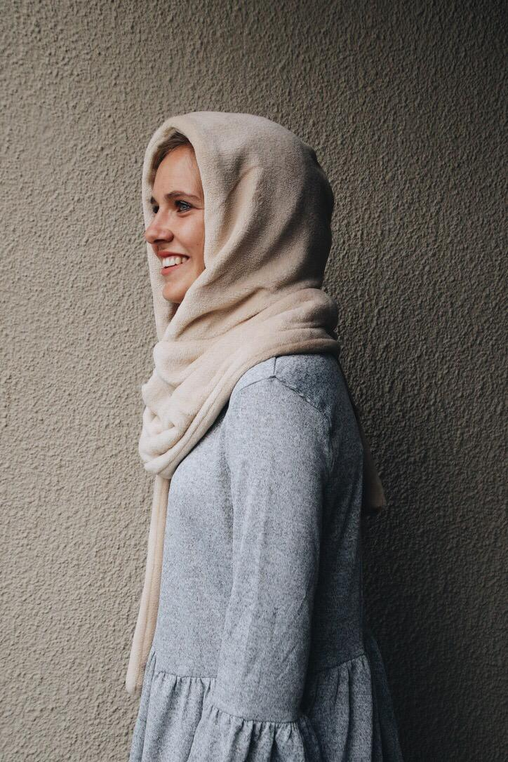 Hooded Scarf Coffee Cream