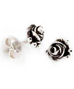 Hobart Rose Bud Earrings (Silver)