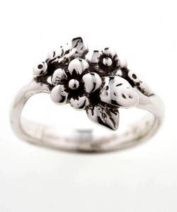 Two Flower Spring Blossom Ring (Silver)