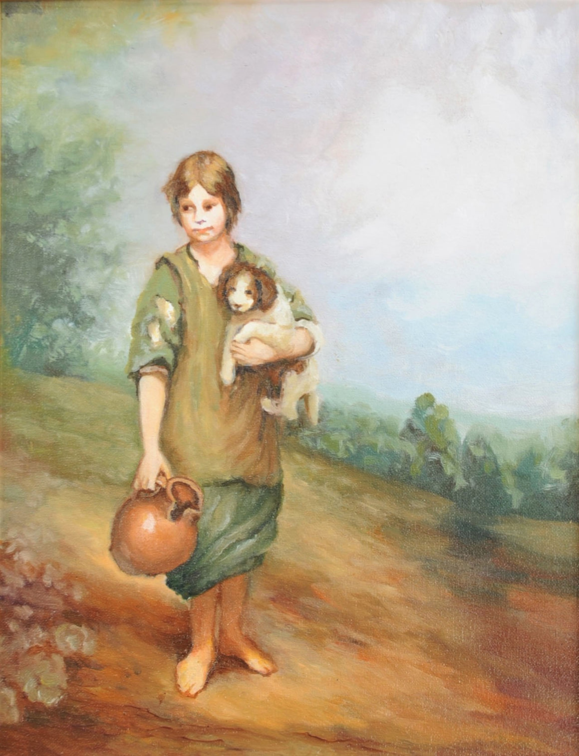 Cottage Girl with Dog & Pitcher (Old Master)