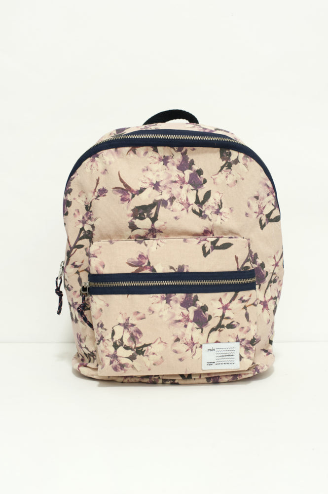Pattern Cherry Pink Canvas Backpack Large by Zubi