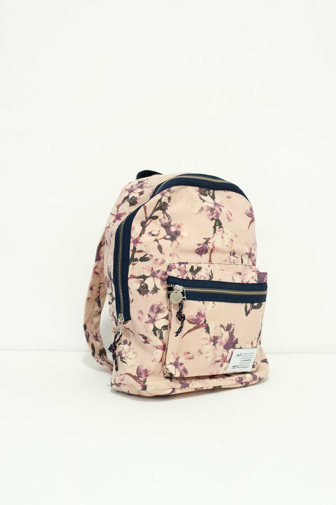 Pattern Cherry Pink Canvas Backpack small by Zubi