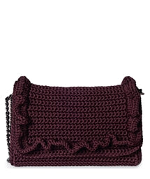 One & Only Burgundy Passion Crochet Medium bag