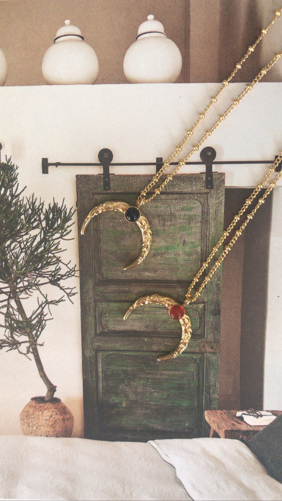 Moon necklace with natural stone